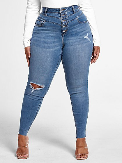 Plus Size Medium Wash High Rise Button Fly Skinny Jeans - Short Inseam - Fashion To Figure