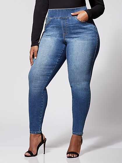 Plus Size Medium Wash High-Rise Jeggings - Tall Inseam - Fashion To Figure