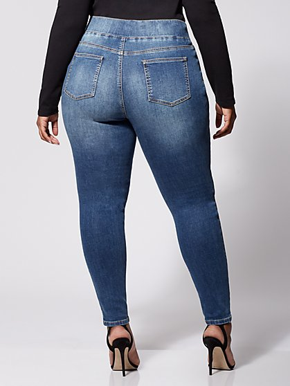 ee306bb79d5 ... Plus Size Medium Wash High-Rise Jeggings - Tall Inseam - Fashion To  Figure