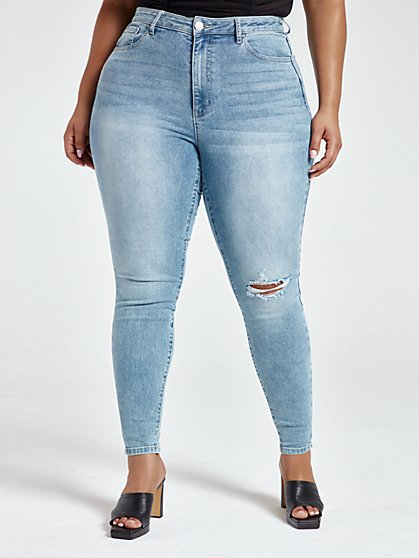 Plus Size Medium Wash High Rise Skinny Jeans - Fashion To Figure