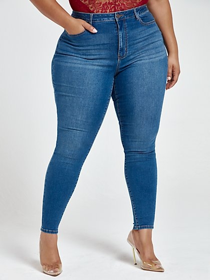 Plus Size Medium Wash High Rise Super Skinny Jeans - Short Inseam - Fashion To Figure