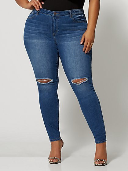 Plus Size Medium Wash Mid-Rise Destructed Cross Hatch Skinny Jeans - Fashion To Figure
