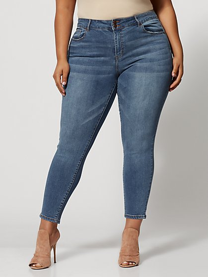 Plus Size Medium Wash Premium Mid-Rise Skinny Jeans - Ankle Length - Fashion To Figure