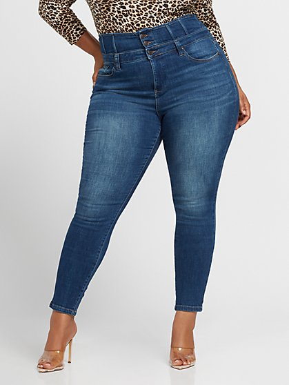 Plus Size Medium Wash Ultra High-Rise Corset Waistband Skinny Jeans - Fashion To Figure