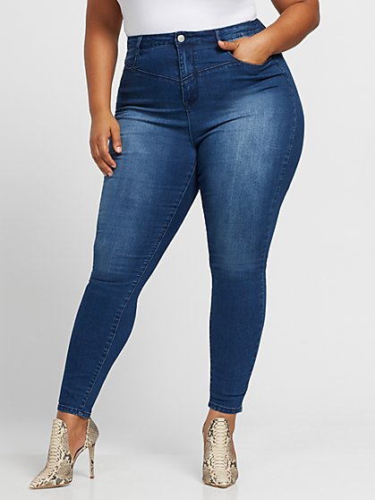 Plus Size Medium Wash Ultra High-Rise Skinny Jeans - Fashion To Figure