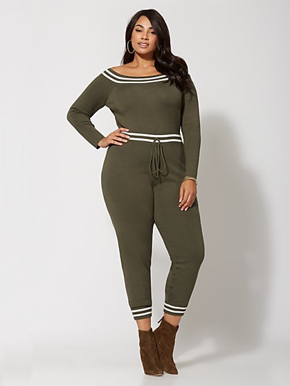 Plus Size Megyn Athletic Sweater Jumpsuit - Fashion To Figure