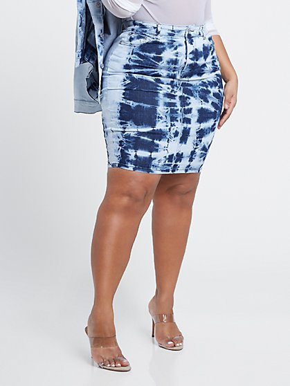 Plus Size Meilani Tie Dye Skirt - Fashion To Figure
