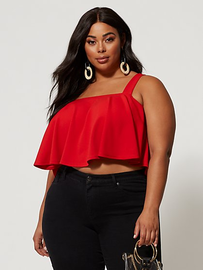 Plus Size Melani Flounce Tank Top - Fashion To Figure