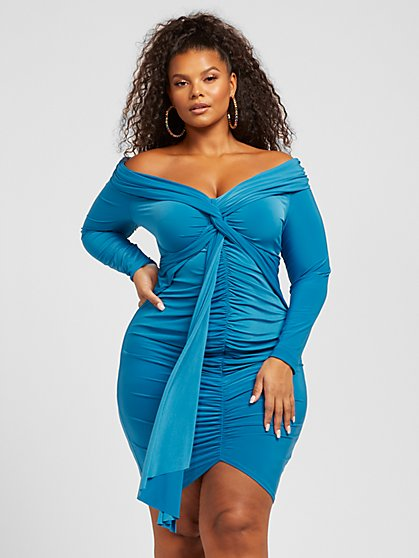 Plus Size Melania Off The Shoulder Ruched Front Dress - Fashion To Figure