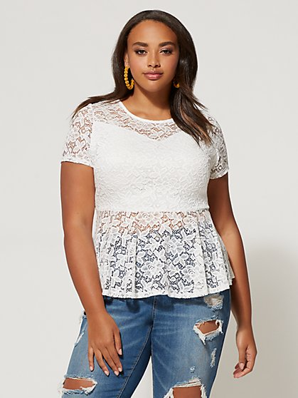 Plus Size Melanie Lace Peplum Top - Fashion To Figure