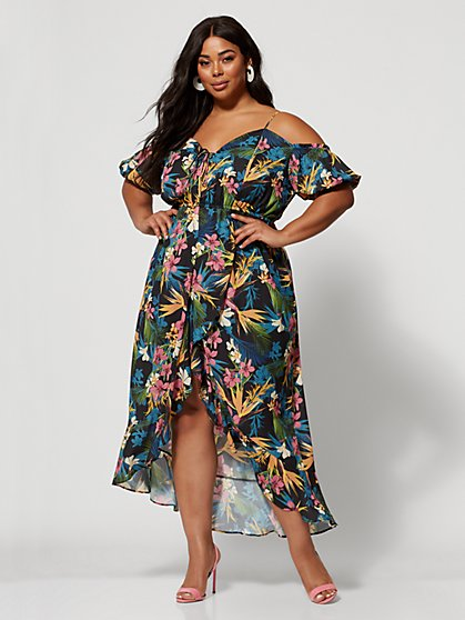 Plus Size Melati Tropical Print Maxi Dress - Fashion To Figure