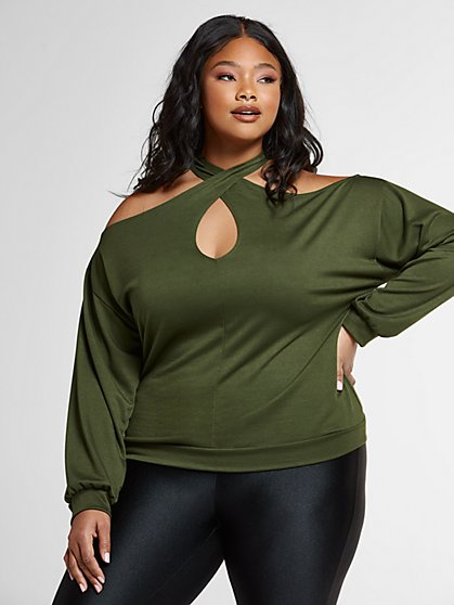 Plus Size Melissa Off The Shoulder Crossneck Sweatshirt - Fashion To Figure