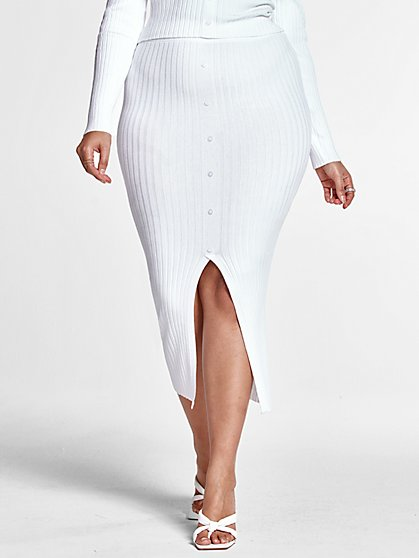 Plus Size Melissa Ribbed Knit Midi Skirt - Fashion To Figure