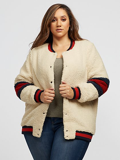 Plus Size Melissa Varsity Bomber Jacket - Fashion To Figure