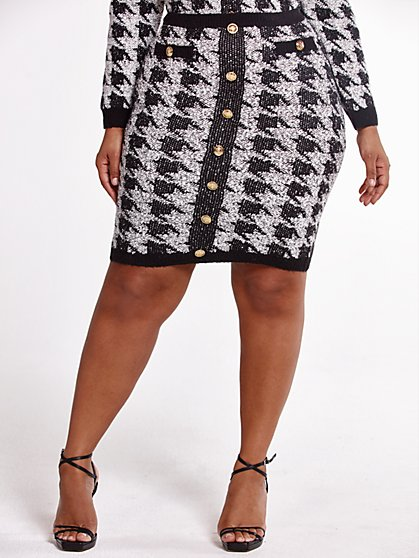 Plus Size Melody Houndstooth Sweater Skirt - Fashion To Figure