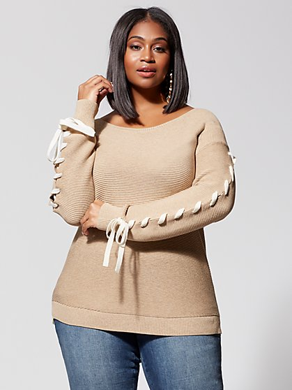 Plus Size Mercy Lace-Up Sleeve Sweater - Fashion To Figure