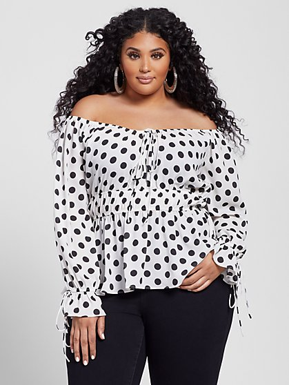 Plus Size Merideth Polka Dot Peplum Top - Fashion To Figure