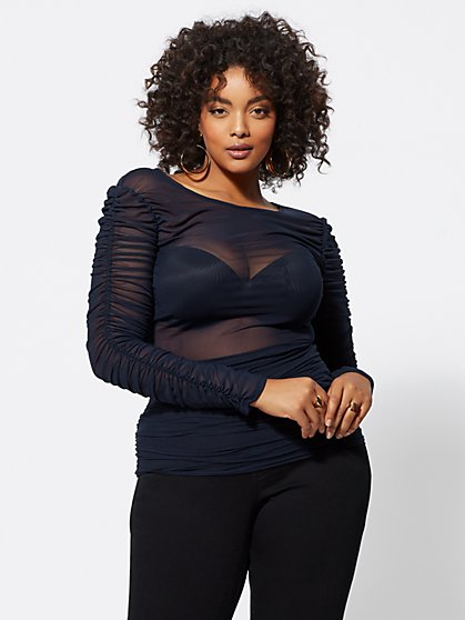 Plus Size Merlinda Ruched Mesh Top - Fashion To Figure