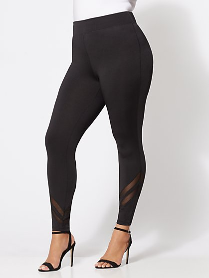 Plus Size Mesh-Panel Leggings - Fashion To Figure