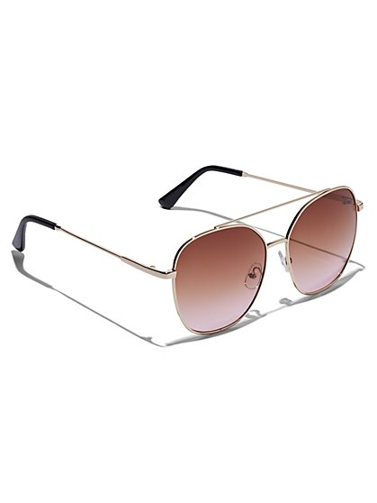 Plus Size Metal Brow Bar Sunglasses - Fashion To Figure