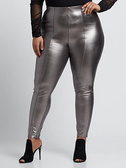 Plus Size Metallic Faux-Leather Pants - Fashion To Figure