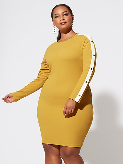 Plus Size Mia Button-Sleeve Bodycon Dress - Fashion To Figure