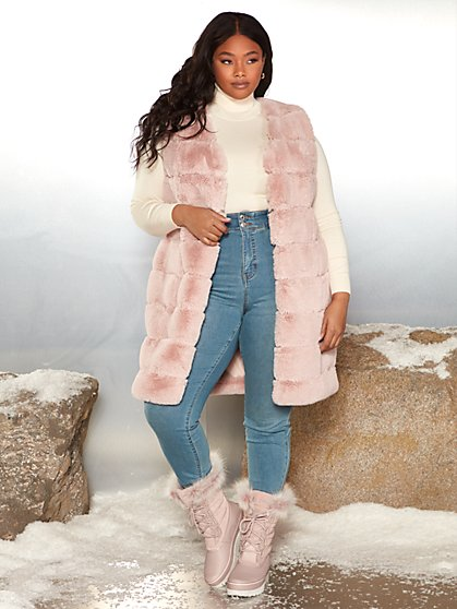Plus Size Mica Long Faux Fur Vest - Garnerstyle x FTF - Fashion To Figure
