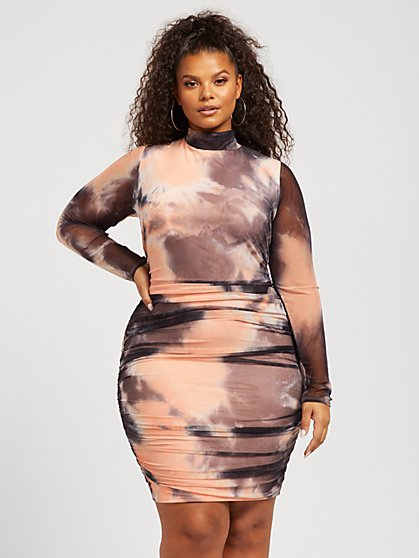 Plus Size Micaela Tie Dye Mesh Dress - Fashion To Figure