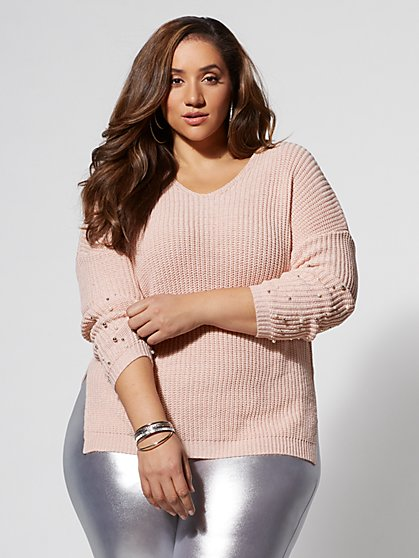 Plus Size Micah Pearl Tunic Sweater - Fashion To Figure