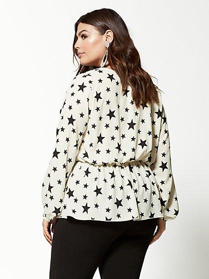 ... Plus Size Michele Star-Print Peplum Top - Fashion To Figure ... 210c00f73