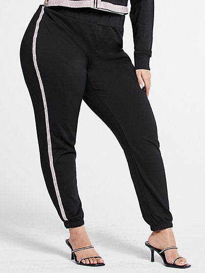 Plus Size Michelle Rhinestone Trim Joggers - Fashion To Figure