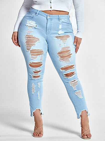 Plus Size Mid-Rise All Over Destructed Skinny Jeans - Fashion To Figure