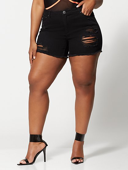 Plus Size Mid-Rise Black Destructed Shorts - Fashion To Figure