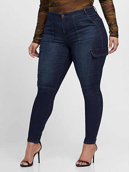 Plus Size Mid-Rise Cargo Skinny Jeans - Fashion To Figure
