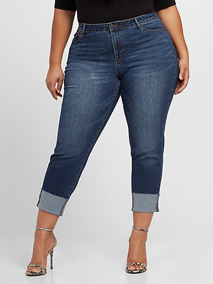 Plus Size Mid-Rise Dark Wash Girlfriend Jeans - Fashion To Figure