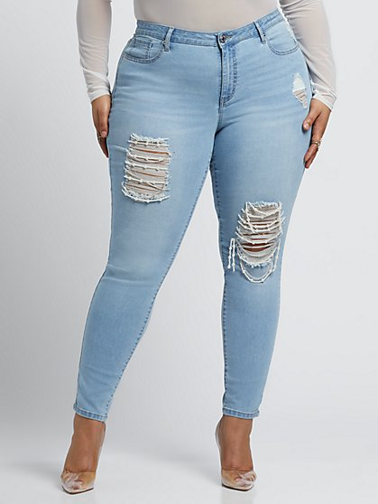 Plus Size Mid-Rise Destructed Faux-Pearl Detail Skinny Jeans - Fashion To Figure