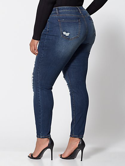 03952a9b7d5 ... Plus Size Mid-Rise Destructed Skinny Jeans - Short Inseam - Fashion To  Figure ...