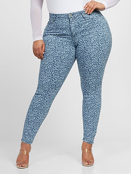 Plus Size Mid-Rise Leopard Print Skinny Jeans - Fashion To Figure