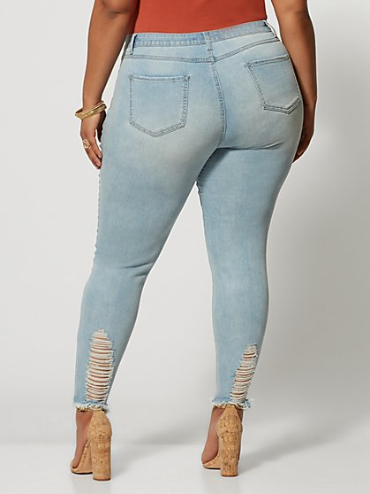 add87f7dafb87 ... Plus Size Mid-Rise Light Wash Destructed Skinny Jeans - Regular Inseam  - Fashion To ...