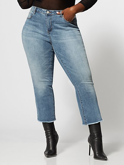 Plus Size Mid-Rise Light Wash Kick Flare Jeans - Fashion To Figure