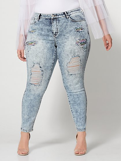 Plus Size Mid-Rise Sequin Detail Skinny Jeans - Fashion To Figure