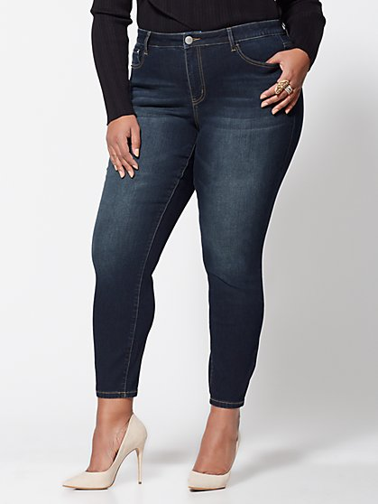 Plus Size Mid-Rise Skinny Jeans - Dark Wash - Fashion To Figure