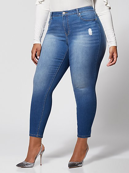 Plus Size Mid-Rise Skinny Jeans - Medium Wash - Fashion To Figure