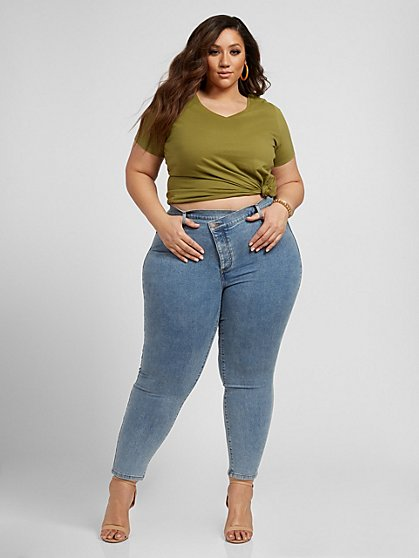 Plus Size Mid-rise Crossover Front Jean - Fashion To Figure