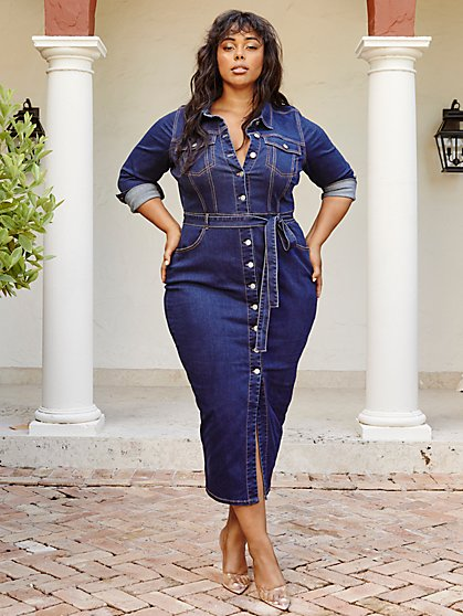 Plus Size Mika Denim Button-Up Maxi Dress - Fashion To Figure