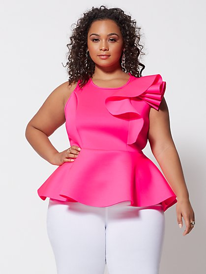 Plus Size Mikayla Shoulder Ruffle Peplum Top - Fashion To Figure
