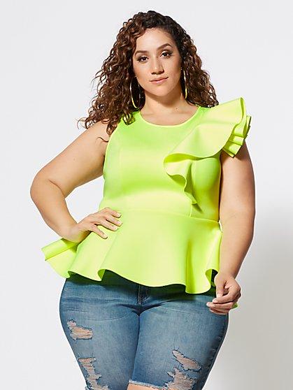 3841a432b1 Plus Size Mikayla Shoulder Ruffle Peplum Top - Fashion To Figure ...