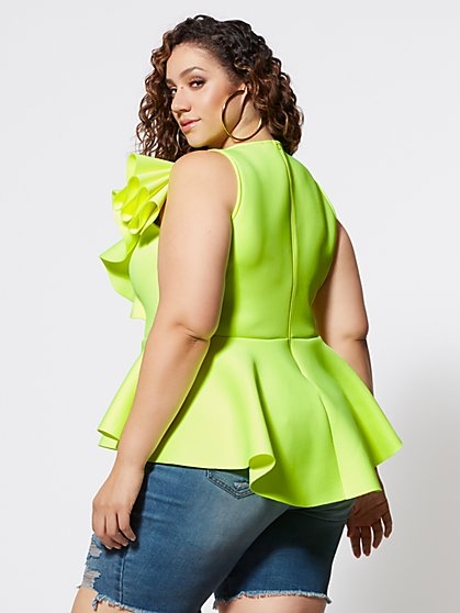 1689f6ff90013 ... Plus Size Mikayla Shoulder Ruffle Peplum Top - Fashion To Figure ...