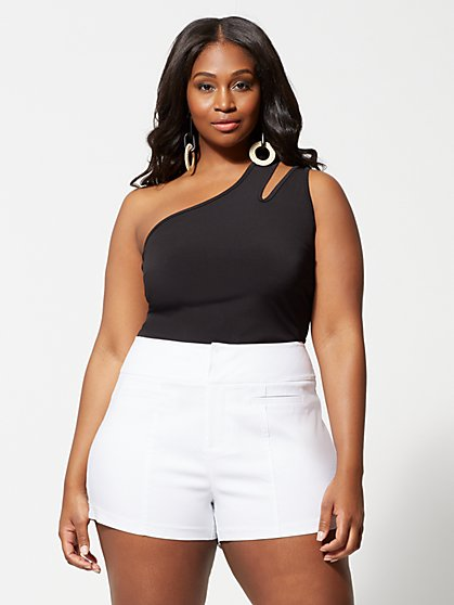 Plus Size Mila Cut-Out One Shoulder Tank Top - Fashion To Figure