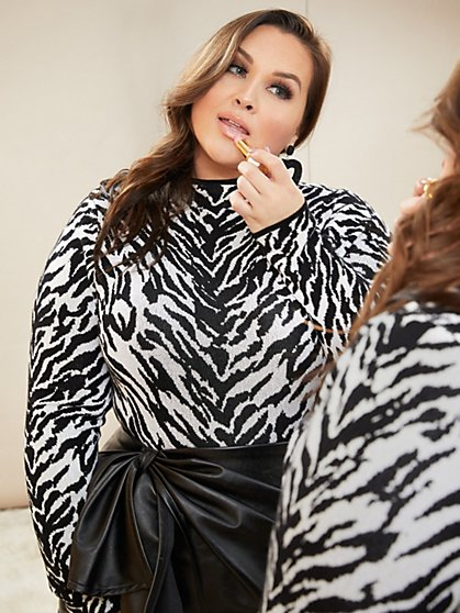 Plus Size Milk and Cookies - Zebra Sweater Bodysuit - Fashion To Figure